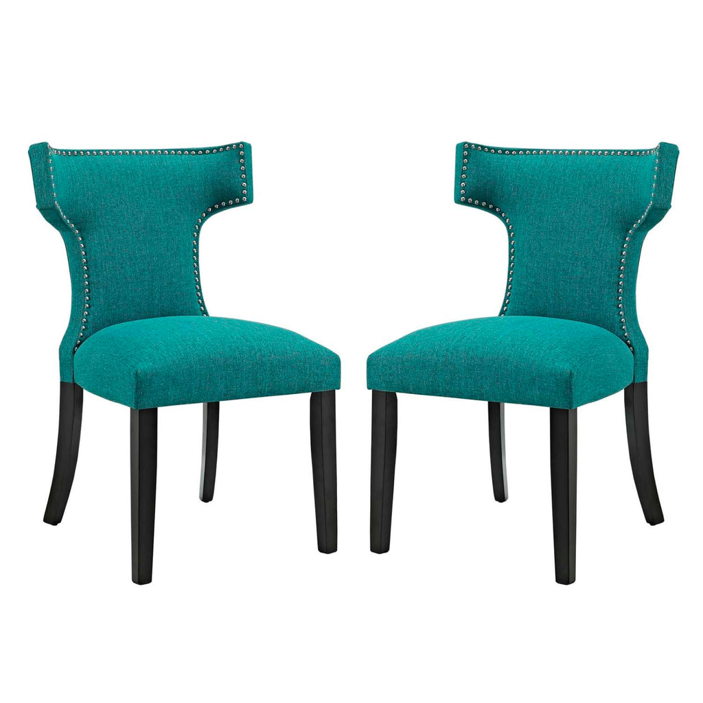 Modway Curve Dining Side Chair Fabric Set of 2 In Teal EEI-2741-TEA-SET