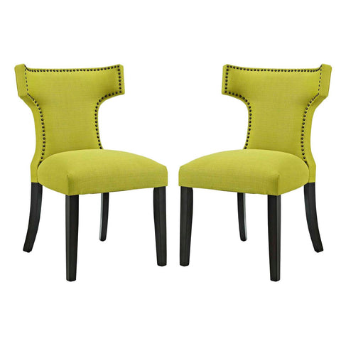 Modway Curve Dining Side Chair Fabric Set of 2 In Wheatgrass EEI-2741-WHE-SET