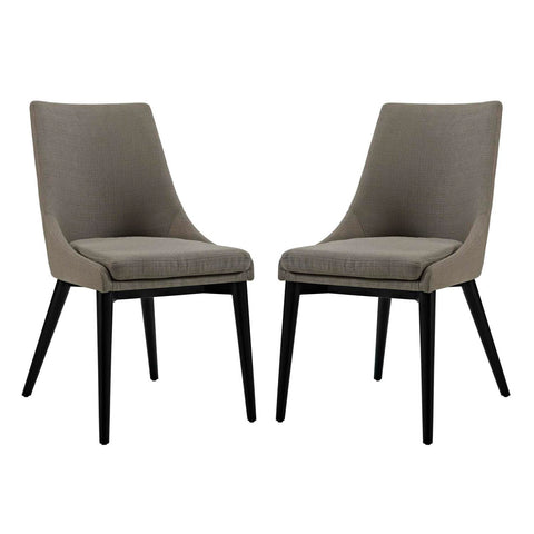 Modway Viscount Dining Side Chair Fabric  Set of 2 In Granite EEI-2745-GRA-SET