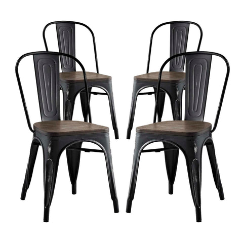 Modway Promenade Dining Side Chair Set of 4 In Black EEI-2752-BLK-SET