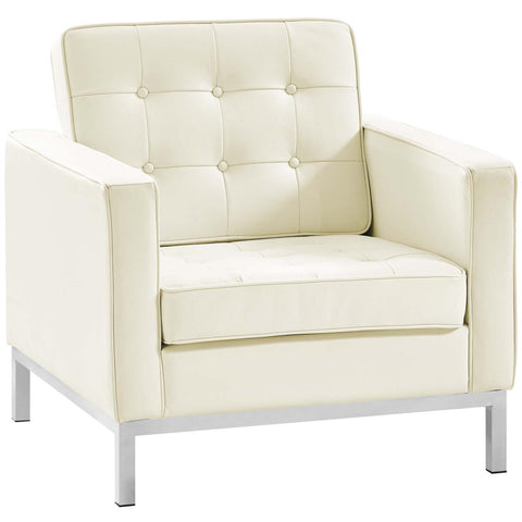 Modway Loft Leather Armchair In White EEI-2781-WHI