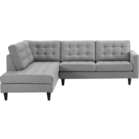 Modway 2 Piece Upholstered Fabric Left Facing Bumper Sectional EEI-2798-LGR