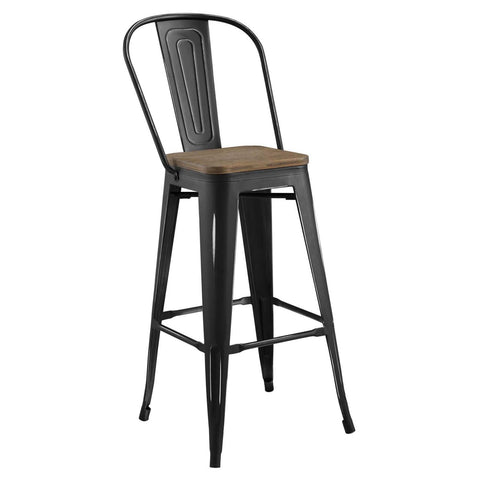 Modway Promenade Metal Bar Stool In Black EEI-2816-BLK