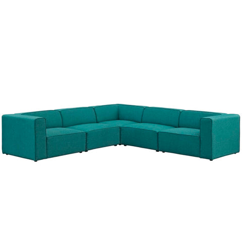 Modway Mingle 5 Piece Upholstered Fabric Sectional Sofa Set EEI-2835-TEA