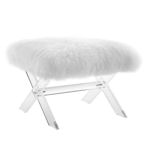 Modway Swift Sheepskin Bench With Clear White Finish EEI-2843-CLR-WHI