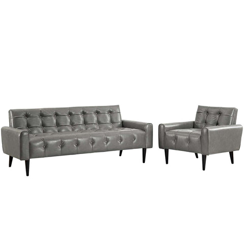Modway Delve 2 Piece Upholstered Vinyl Sofa And Armchair Set EEI-2971-GRY-SET