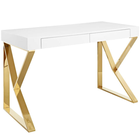Modway Adjacent Desk With White Gold Finish EEI-3031-WHI