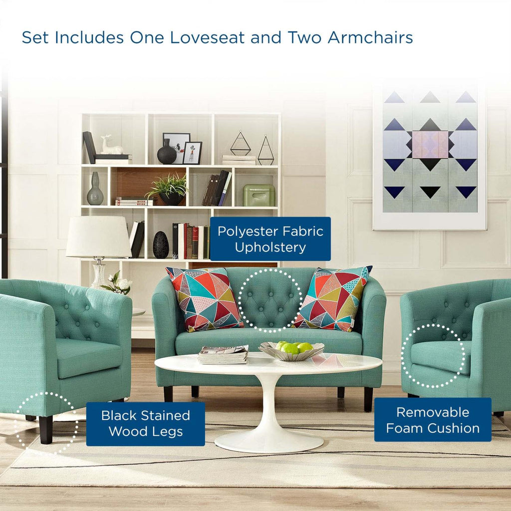 Modway 3 Piece Upholstered Fabric Loveseat And Armchair Set EEI-3149-LAG-SET
