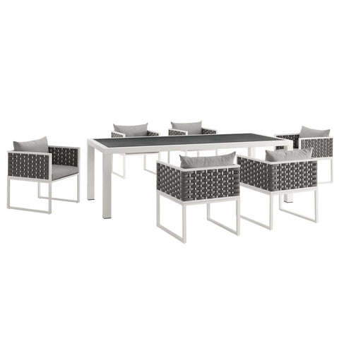 Modway Stance 7 Piece Outdoor Patio Aluminum Dining Set EEI-3185-WHI-GRY-SET