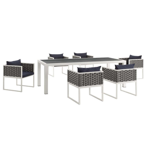 Modway Stance 7 Piece Outdoor Patio Aluminum Dining Set EEI-3185-WHI-NAV-SET