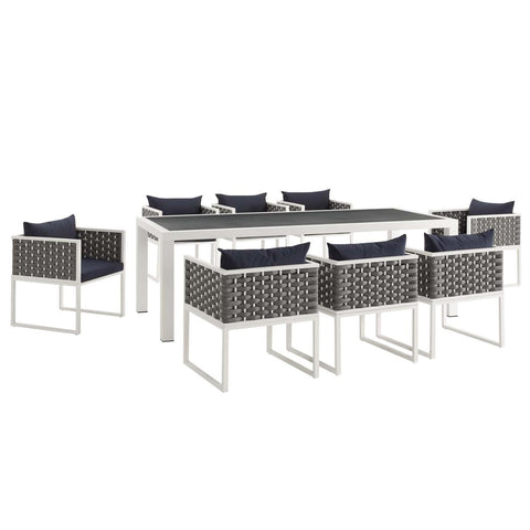 Modway Stance 9 Piece Outdoor Patio Aluminum Dining Set EEI-3186-WHI-NAV-SET