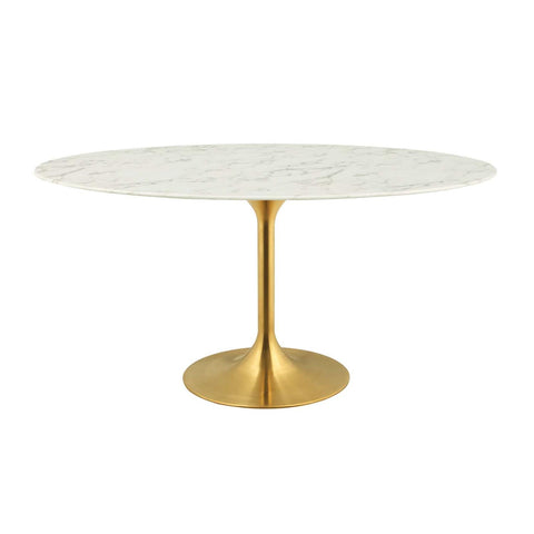 "Modway Lippa 60"" Oval Dining Table With Gold White Finish EEI-3236-GLD-WHI"