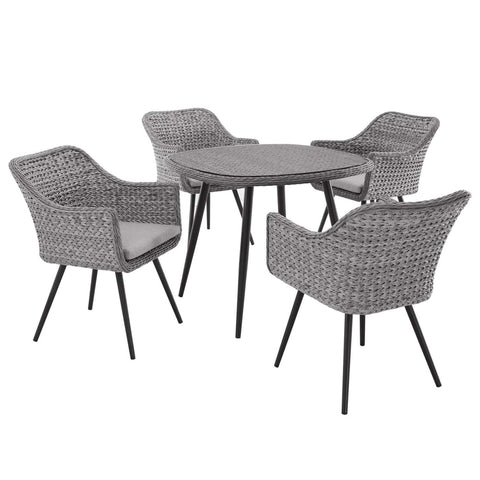 Modway 5 Piece Outdoor Patio Wicker Rattan Dining Set EEI-3320-GRY-GRY-SET