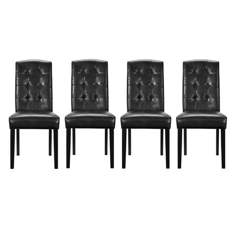 Modway Perdure Vinyl Set Of 4 Dining Chairs With Black Finish EEI-3464-BLK