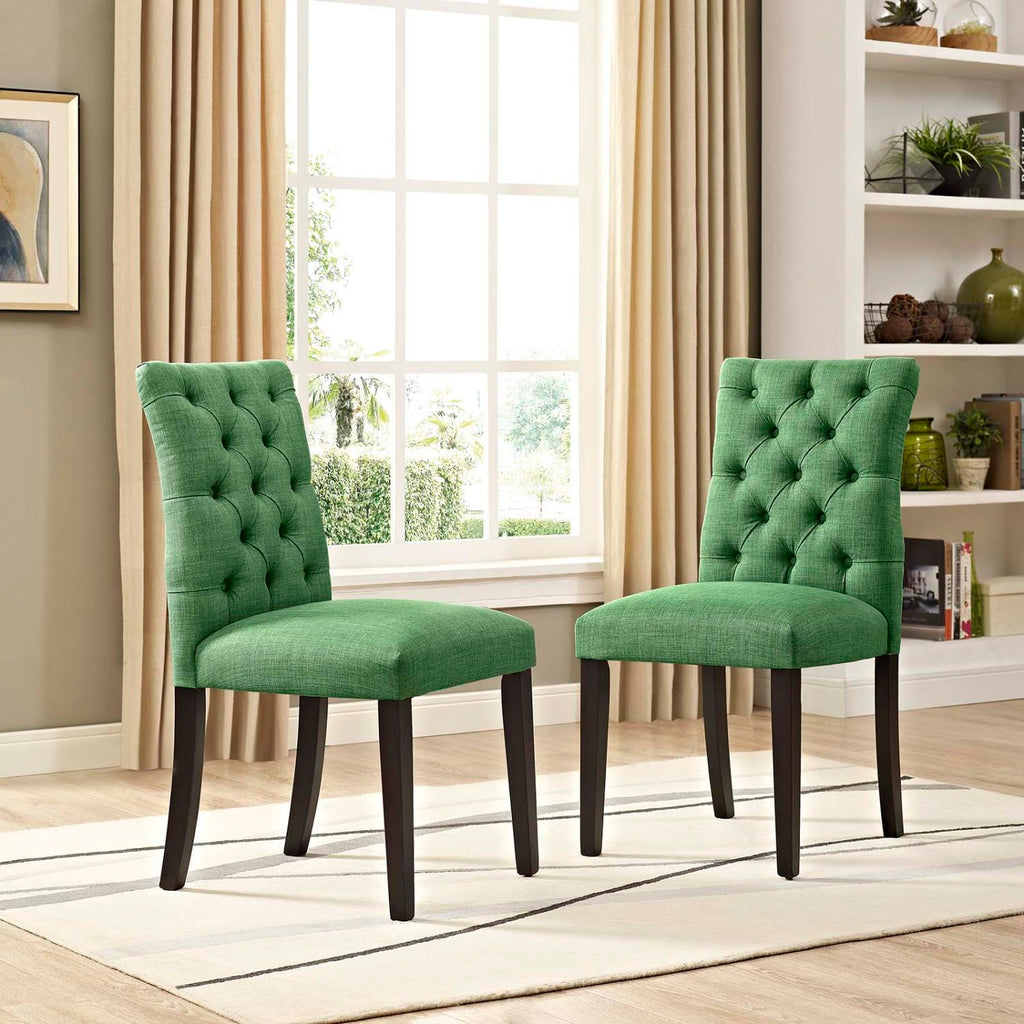 Modway Duchess Dining Chair Fabric Set Of 2 With Green Finish EEI-3474-GRN