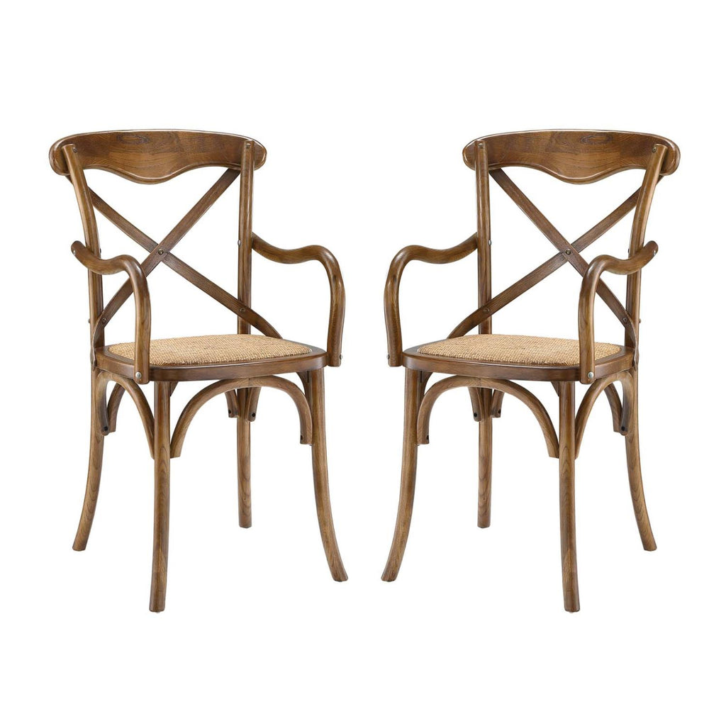 Modway Gear Set Of 2 Dining Armchair With Walnut Finish EEI-3479-WAL
