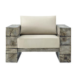 Modway Manteo Rustic Coastal Outdoor Patio Lounge Armchair EEI-3564-LGR-BEI