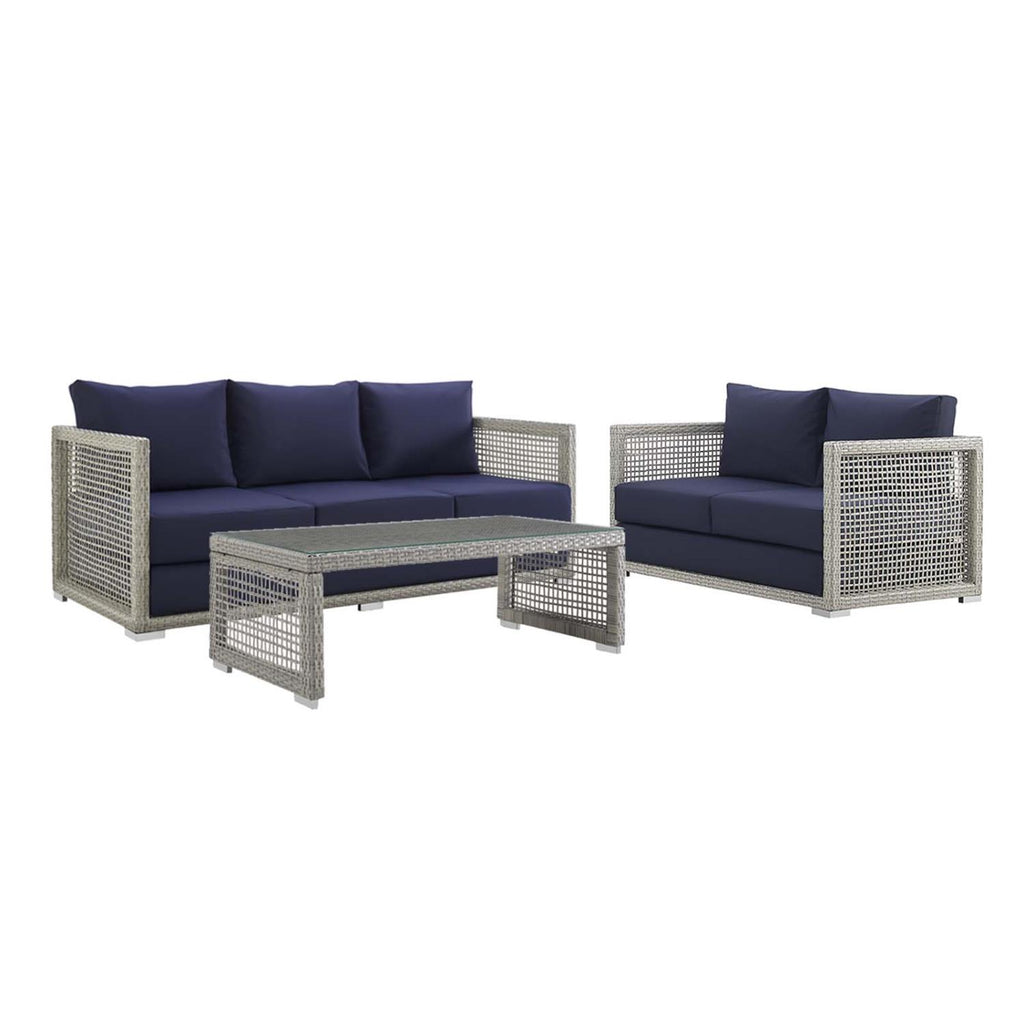 Modway Aura 3 Piece Outdoor Patio Wicker Rattan Set EEI-3598-GRY-NAV-SET