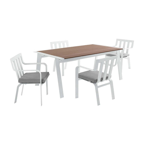 Modway Baxley Outdoor Patio Aluminum Dining Set EEI-3964-WHI-GRY