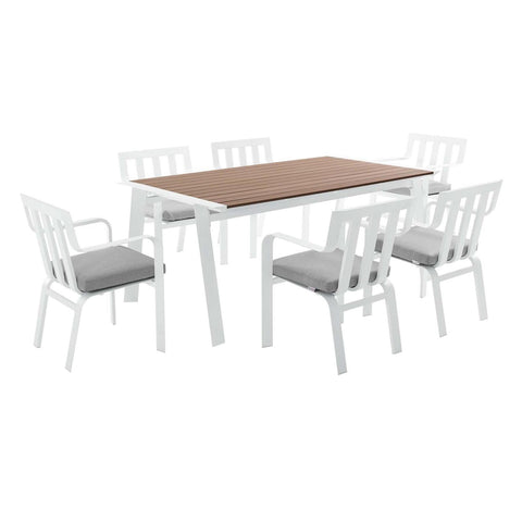 Modway Baxley Outdoor Patio Aluminum Dining Set EEI-3965-WHI-GRY