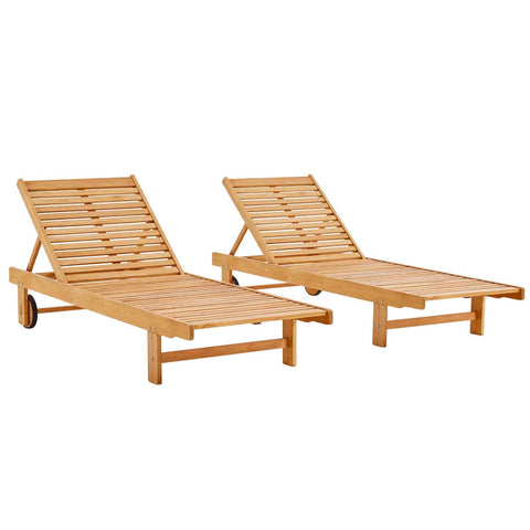 Modway Hatteras Outdoor Eucalyptus Wood Set Of 2 Chaise Lounge EEI-3967-NAT