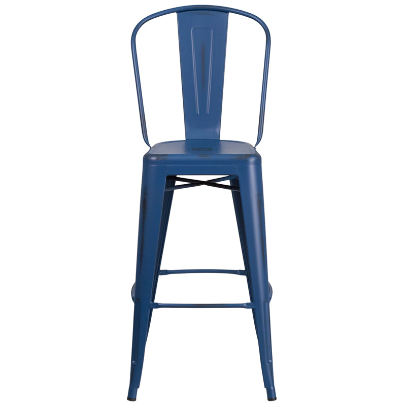 Flash Furniture 30'' High Antique Blue Metal Indoor-Outdoor Barstool with Back