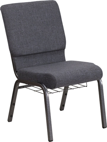 18.5''W Dark Gray Fabric Church Chair 4.25'' Thick Seat, Book Rack - gwg-outlet