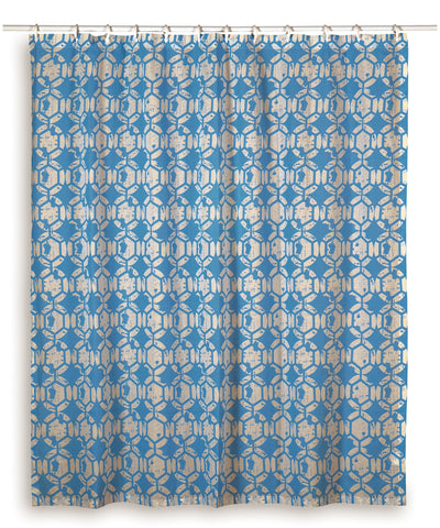"Rizzy Home Geometric Cotton Shower Curtain 72""X72"" in Skyblue Color"
