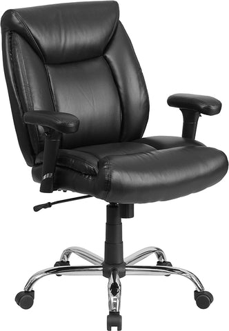 Flash Furniture Big and Tall Black Leather Swivel Task Chair GO-2073-LEA-GG