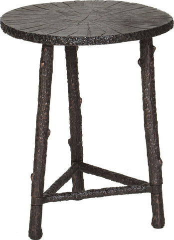 GwG Outlet Cast Aluminum Accent Table in Bronze Finish with Patina GO0001F