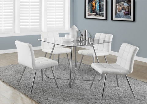 "Monarch White Leather-Look / Chrome Metal 32""H Dining Chair/ 2Pcs I 1071"