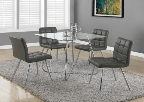 "Monarch Grey Leather-Look / Chrome Metal 32""H Dining Chair / 2Pcs I 1072"