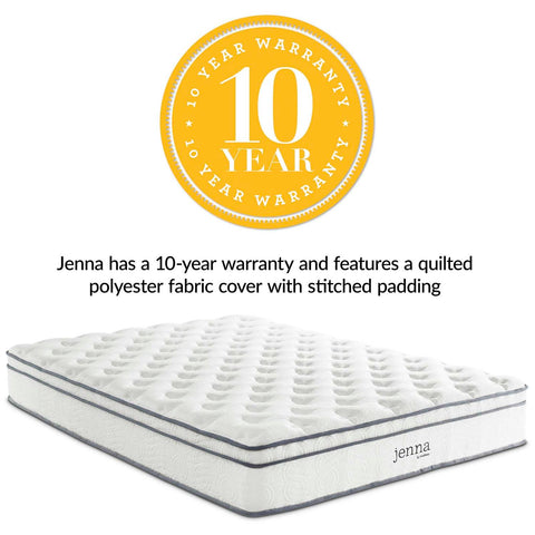 "Modway Jenna 10"" King Innerspring Mattress Finish MOD-5771-WHI"