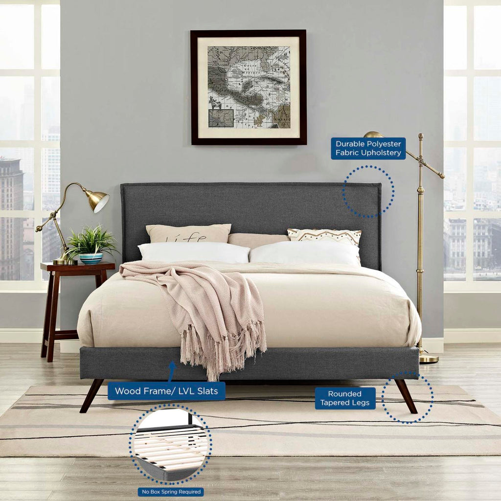Modway Amaris Queen Fabric Platform Bed With Round Splayed Legs MOD-5904-GRY