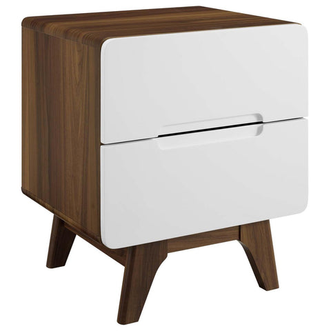 Modway Origin Wood Nightstand Or End Table MOD-6073-WAL-WHI