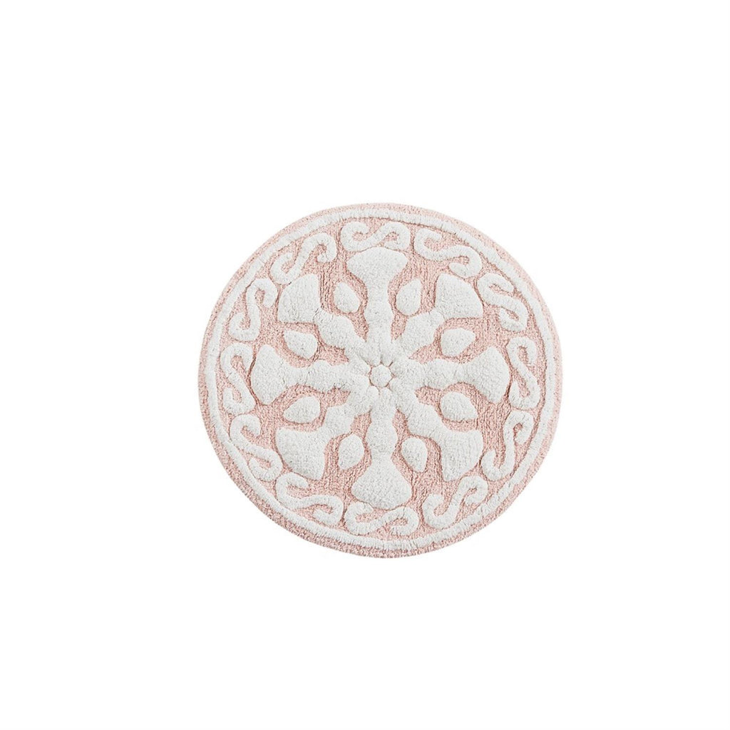 Madison Park Cotton Medallion Tufted Rug With Blush Finish MP72-4432