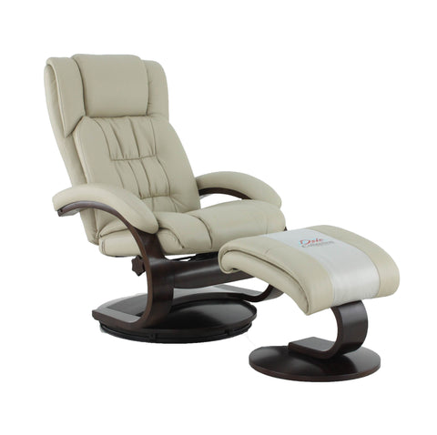 Mac Motion Norfolk Recliner And Ottoman In Beige Air Leather NORFOLK051097
