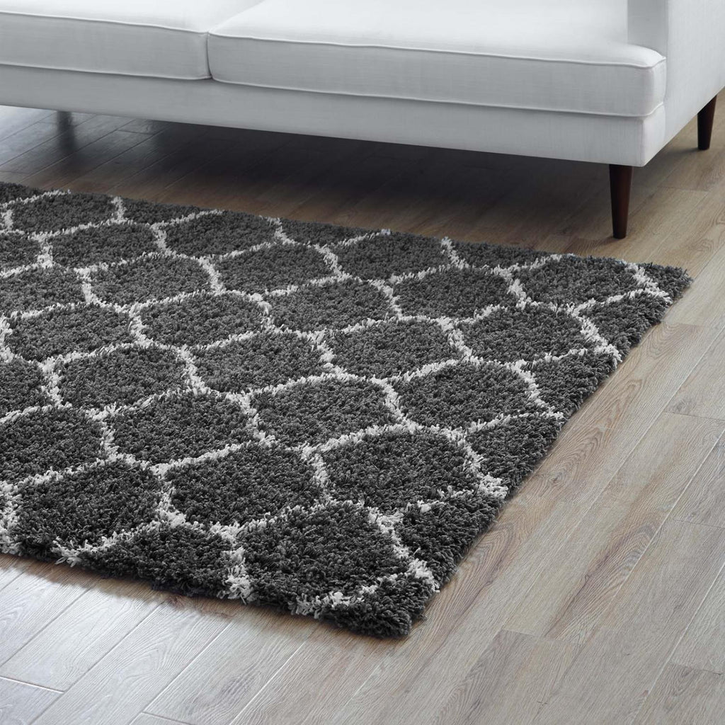 Modway Solvea Polypropylene 96.5X61 Area Rugs In Dark Gray And Ivory R-1143D-58
