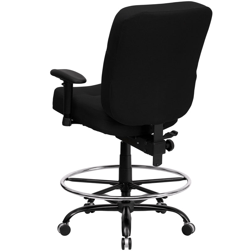 Flash Furniture Big and Tall Black Fabric Drafting Chair WL-735SYG-BK-AD-GG - gwg-outlet