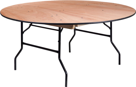 Flash Furniture 66'' Round Wood Folding Banquet Table YT-WRFT66-TBL-GG