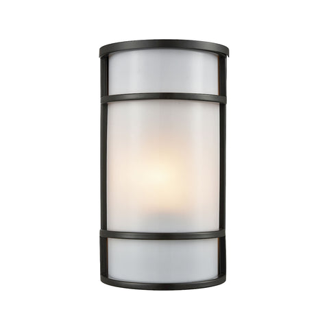 Thomus Outdoor Wall Sconce In Oil Rubbed Bronze White Acrylic Diffuser CE931171