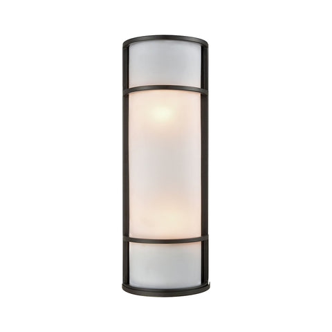 Thomus Outdoor Wall Sconce In Oil Bronze With White Acrylic Diffuser CE932171