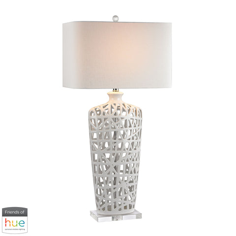Elk Modern Ceramic Table Lamp In Gloss White And Crystal D2637-HUE-B