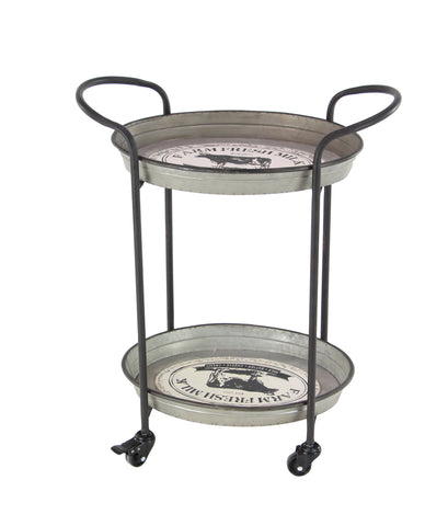 Zimlay Grey Iron Farmhouse Bar Cart 98492