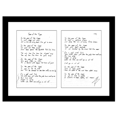 Myles Kennedy Studio-Used Lyric Sheets