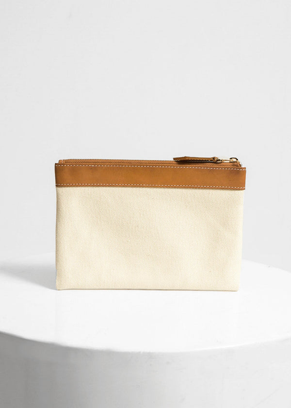Leather & Canvas Pouch, Brown Beige