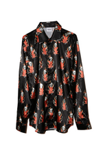 SSS WORLD CORP POLY SILK FLAMING SKELETON SHIRT