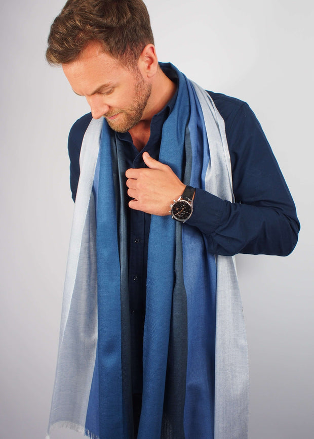 blue sky silk scarf man