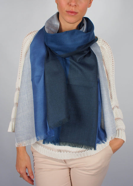 blue sky silk scarf woman