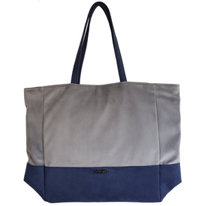 Luxury Vegan Blue and Grey Large Tote Bag